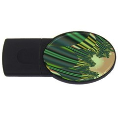 A Feathery Sort Of Green Image Shades Of Green And Cream Fractal USB Flash Drive Oval (2 GB)