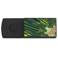 A Feathery Sort Of Green Image Shades Of Green And Cream Fractal USB Flash Drive Rectangular (2 GB)