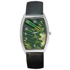A Feathery Sort Of Green Image Shades Of Green And Cream Fractal Barrel Style Metal Watch