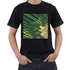 A Feathery Sort Of Green Image Shades Of Green And Cream Fractal Men s T Shirt (black) (two Sided)