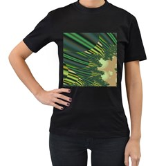 A Feathery Sort Of Green Image Shades Of Green And Cream Fractal Women s T Shirt (black) (two Sided)