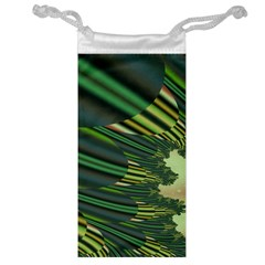 A Feathery Sort Of Green Image Shades Of Green And Cream Fractal Jewelry Bag