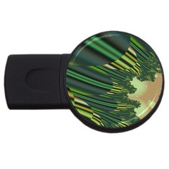 A Feathery Sort Of Green Image Shades Of Green And Cream Fractal USB Flash Drive Round (4 GB)