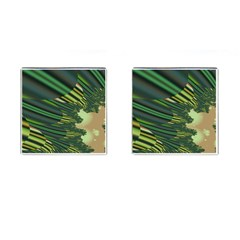A Feathery Sort Of Green Image Shades Of Green And Cream Fractal Cufflinks (square)