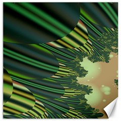 A Feathery Sort Of Green Image Shades Of Green And Cream Fractal Canvas 16  x 16