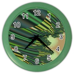 A Feathery Sort Of Green Image Shades Of Green And Cream Fractal Color Wall Clocks