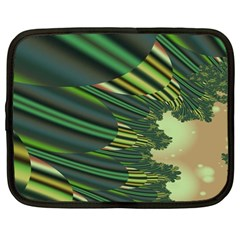 A Feathery Sort Of Green Image Shades Of Green And Cream Fractal Netbook Case (large)