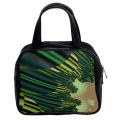 A Feathery Sort Of Green Image Shades Of Green And Cream Fractal Classic Handbags (2 Sides)