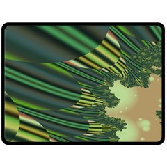A Feathery Sort Of Green Image Shades Of Green And Cream Fractal Fleece Blanket (large)