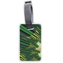 A Feathery Sort Of Green Image Shades Of Green And Cream Fractal Luggage Tags (one Side)