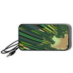 A Feathery Sort Of Green Image Shades Of Green And Cream Fractal Portable Speaker (Black)