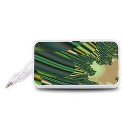 A Feathery Sort Of Green Image Shades Of Green And Cream Fractal Portable Speaker (White)