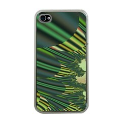 A Feathery Sort Of Green Image Shades Of Green And Cream Fractal Apple iPhone 4 Case (Clear)