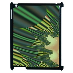 A Feathery Sort Of Green Image Shades Of Green And Cream Fractal Apple Ipad 2 Case (black)