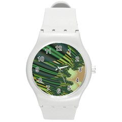 A Feathery Sort Of Green Image Shades Of Green And Cream Fractal Round Plastic Sport Watch (m)