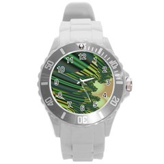 A Feathery Sort Of Green Image Shades Of Green And Cream Fractal Round Plastic Sport Watch (L)
