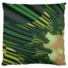A Feathery Sort Of Green Image Shades Of Green And Cream Fractal Large Cushion Case (Two Sides)