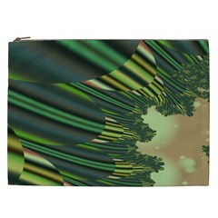 A Feathery Sort Of Green Image Shades Of Green And Cream Fractal Cosmetic Bag (XXL)