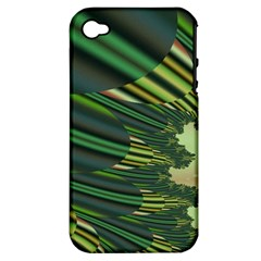 A Feathery Sort Of Green Image Shades Of Green And Cream Fractal Apple iPhone 4/4S Hardshell Case (PC+Silicone)