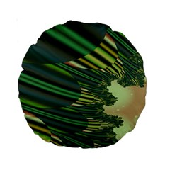 A Feathery Sort Of Green Image Shades Of Green And Cream Fractal Standard 15  Premium Round Cushions