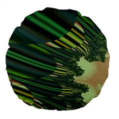 A Feathery Sort Of Green Image Shades Of Green And Cream Fractal Large 18  Premium Round Cushions