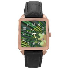 A Feathery Sort Of Green Image Shades Of Green And Cream Fractal Rose Gold Leather Watch