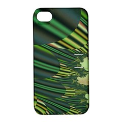 A Feathery Sort Of Green Image Shades Of Green And Cream Fractal Apple iPhone 4/4S Hardshell Case with Stand