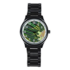 A Feathery Sort Of Green Image Shades Of Green And Cream Fractal Stainless Steel Round Watch