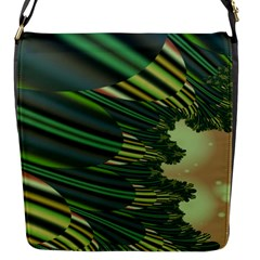 A Feathery Sort Of Green Image Shades Of Green And Cream Fractal Flap Messenger Bag (S)