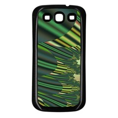 A Feathery Sort Of Green Image Shades Of Green And Cream Fractal Samsung Galaxy S3 Back Case (black)
