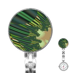 A Feathery Sort Of Green Image Shades Of Green And Cream Fractal Stainless Steel Nurses Watch