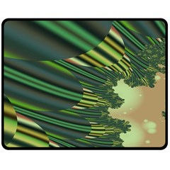 A Feathery Sort Of Green Image Shades Of Green And Cream Fractal Double Sided Fleece Blanket (medium)
