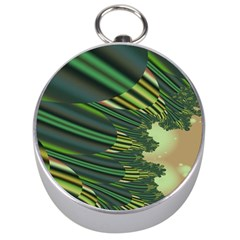 A Feathery Sort Of Green Image Shades Of Green And Cream Fractal Silver Compasses