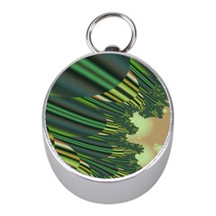 A Feathery Sort Of Green Image Shades Of Green And Cream Fractal Mini Silver Compasses