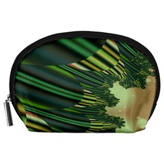 A Feathery Sort Of Green Image Shades Of Green And Cream Fractal Accessory Pouches (Large)