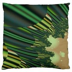 A Feathery Sort Of Green Image Shades Of Green And Cream Fractal Large Flano Cushion Case (One Side)
