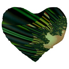 A Feathery Sort Of Green Image Shades Of Green And Cream Fractal Large 19  Premium Flano Heart Shape Cushions