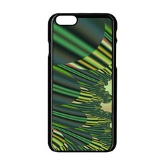 A Feathery Sort Of Green Image Shades Of Green And Cream Fractal Apple Iphone 6/6s Black Enamel Case