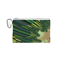 A Feathery Sort Of Green Image Shades Of Green And Cream Fractal Canvas Cosmetic Bag (s)