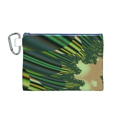 A Feathery Sort Of Green Image Shades Of Green And Cream Fractal Canvas Cosmetic Bag (M)