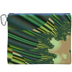 A Feathery Sort Of Green Image Shades Of Green And Cream Fractal Canvas Cosmetic Bag (XXXL)