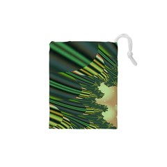 A Feathery Sort Of Green Image Shades Of Green And Cream Fractal Drawstring Pouches (xs)