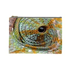 Macro Of The Eye Of A Chameleon Cosmetic Bag (large)