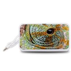 Macro Of The Eye Of A Chameleon Portable Speaker (White)