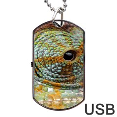 Macro Of The Eye Of A Chameleon Dog Tag USB Flash (One Side)