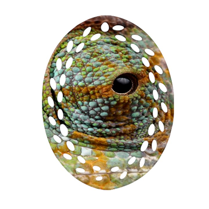 Macro Of The Eye Of A Chameleon Oval Filigree Ornament (Two Sides)
