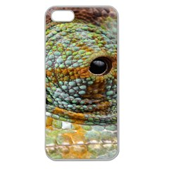 Macro Of The Eye Of A Chameleon Apple Seamless iPhone 5 Case (Clear)