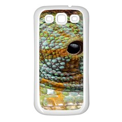 Macro Of The Eye Of A Chameleon Samsung Galaxy S3 Back Case (White)