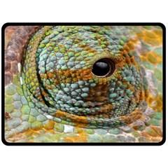 Macro Of The Eye Of A Chameleon Double Sided Fleece Blanket (Large)