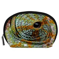 Macro Of The Eye Of A Chameleon Accessory Pouches (Large)